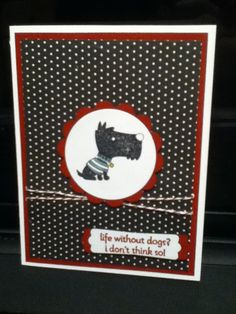 """Handmade card using Stampin' Up Hot Diggity Dog stamp set, whisper White Cardstock, Cherry Cobbler Cardstock, ink, and baker's twine, black Neutrals DSP, Lost Lagoon and Hello Honey Stampin' Write markers, modern label punch, 2 3/8"""" scallop punch, and 2"""" circle punch."""