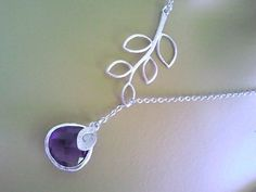 Personalized Necklace Birthstone Statement Lariat por LaLaCrystal