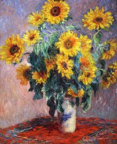 Claude Monet - Bouquet of Sunflowers, 1880 Art Print. Explore our collection of Claude Monet fine art prints, giclees, posters and hand crafted canvas products Monet Paintings, Impressionist Paintings, Landscape Paintings, Landscape Art, Vincent Van Gogh, Claude Monet Pinturas, Sunflower Art, Sunflower Paintings, Sunflower Kitchen
