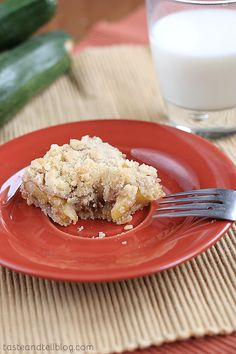 They are delicious. And you would never guess that they are made with zucchini. I would have totally guessed that these were apple bars.