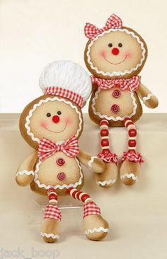 Gingerbread Decorations. You could make their bodies from socks and then add on the arms and legs. Super cute idea with the beads.