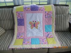 Baby quilts with giraffes butterflies elephants by memomslove, $60.00