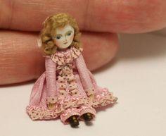 Miniature tiny cloth and wood doll ~ handmade dolls house toy doll OOAK