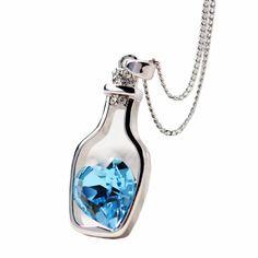 Bonito colgante plateado (3 colores) en forma de botella con corazón brillante dentro – CoolComplements
