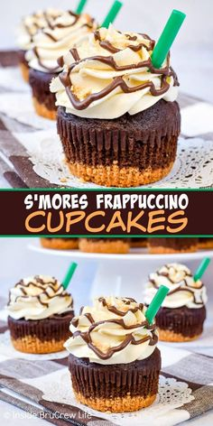 S mores Frappuccino Cupcakes - chocolate, marshmallow, and graham crackers add a fun flair to this coffee and s mores inspired cupcake! Easy recipe to make for summer parties! Starbucks Cupcakes, Köstliche Desserts, Delicious Desserts, Dessert Recipes, Delicious Dishes, Gourmet Recipes, Yummy Food, Gourmet Cupcakes, Fun Cupcakes