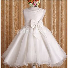A-line Knee-length Flower Girl Dress - Cotton / Tulle / Polyester Sleeveless Jewel with - USD $39.99