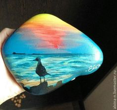 Seagull beach sunset painted rock