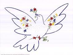 Dove with Flowers artwork at Picasso.com