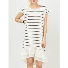 Chiffon Insert Striped T Shirt Dress ($22) ❤ liked on Polyvore featuring dresses, stripe dresses, stripe t shirt dress, t-shirt dresses, striped tee dress and white chiffon dress