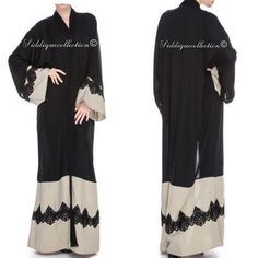"""Open abaya (kimono style) in Nida fabric - all sizes available.  Available from @siddiquecollection  Follow them and check out their range:…"""