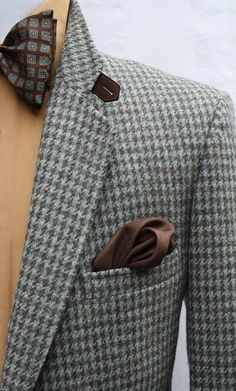 Mens Vintage Pure Wool Houndstooth Sport Coat with Elbow Patches and Ticket Pocket Size 44R Jacket Blazer Sportcoat