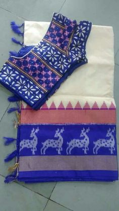 Plain half white with blue and pink.try for Assam cotton Sari Blouse Designs, Fancy Blouse Designs, Saree Blouse Patterns, Bridal Blouse Designs, My Collection, Saree Collection, Saris, Silk Sarees, Kutch Work Designs