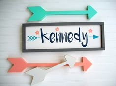 Custom woodland nursery set includes a personalized name sign and a set of arrows. This combo looks great in a woodland nursery , tribal theme room , rustic and modern childrens rooms and nurseries. The COST of this LISTING is for OnE Framed Name Sign with Navy Letters, Teal Arrow and Coral flower details and Set of 3 Arrows ~*~*~*~*~*~*~*~*~*~*~*~*~*~*~*~*~*~*~*~*~*~*~*~*~*~  ++++ Please leave the Name you would like in the Notes during checkout ++++   **** ALL Letters in the Name Will Be…