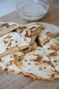 A quick and easy dinner recipe for Buffalo Chicken Quesadillas ~ part of our 31 Days of Rotisserie Chicken Recipes from 5DollarDinners.com