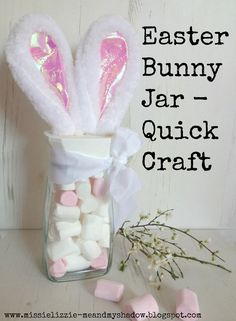 Easter Bunny Ears Jar - a quick craft There is nothing we like better than to don a pair of giant Easter Bunny Ears and go hopping around the garden hiding the eggs for the kids to find - Obviously…