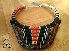 Ur-Atum Statement Necklace Tribal Necklace Rope Choker Thread Wrapped Necklace Ethnic Necklace Urban Choker