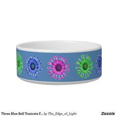 Three Blue Bell Tunicate Flowers in colors Bowl Pink Petals, Pet Bowls, Candy Jars, Ceramic Bowls, Diy Face Mask, Dog Design, Keep It Cleaner, Your Pet, Purple