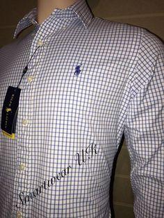 Ralph Lauren Performance Long Sleeve Blue Check Shirt Size M