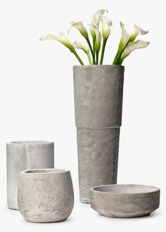 White Calla Lilies In Tall Grey Cement Vase. Cement Vases, JamaliGarden.com.