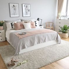 "Dormitorio nórdico en blanco, gris y rosa. 7,443 Likes, 17 Comments - @passion4interior on Instagram: ""Lovely @photosbyir """