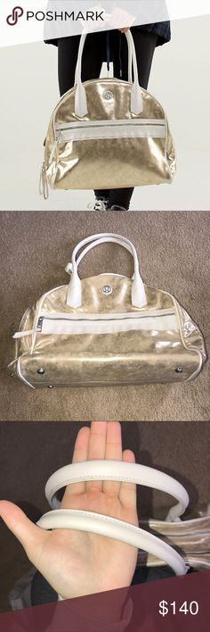 🌟RARE GOLD LULULEMON BAG🌟 Awesome bag with double supper pockets and a bonus pocket in the back! Super unique color also comes with extra strap and little bag for your unmentionables!! Super clean bag no flaws besides one small stain (posted a pic) and can easily come out with some elbow grease!! Selling for a reasonable price some are much higher! Accepting offers 🌟 lululemon athletica Bags