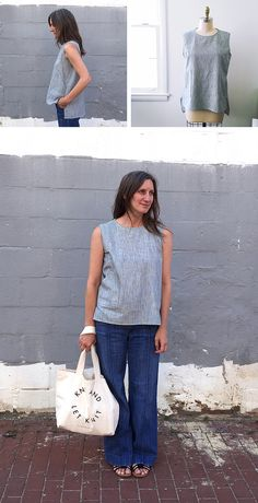 Sleeveless top redux, this time with pockets!
