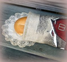 Red Barn in Winter Farm Theme Bread Bag made by FreshEggsDaily, $24.00