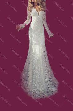 Long Sleeve Mermaid Bridal Gown Wedding Dress Custom Size 6 8 10 12 14 16 18+ in Wedding Dresses   eBay