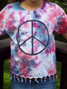 Girls Peace Sign Fringed Top Kids S w Peace Sign from Anything on a Tie Dye at CreationsbyMaris https://www.etsy.com/listing/250392078/girls-peace-sign-fringed-top-kids-s