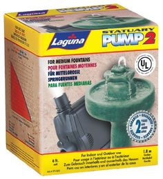 Laguna Statuary Pump 2, 214 Gph by Laguna. $49.86. Laguna PowerJet Submersible Water Pump is a powerful water circulating pump for large indoor and outdoor statuary, fountains, and waterfalls. The pump features an energy-efficient motor requiring only 11 watts, which translates into low electrical consumption. Though small in size, the pump generates an amazing amount of water circulation - up to 810 LPH (214 U.S. GPH). The motor is hermetically sealed, with all live electric...