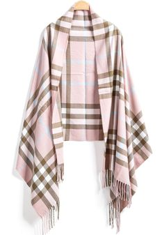 Pink Plaid Tassel Scarves 11.67
