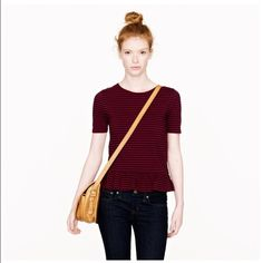JCREW Peplum Stripe Tee Burgundy and navy stripes. This looks great with a navy turtleneck for the cooler weather. Like new condition. No trades please. J. Crew Tops Tees - Short Sleeve