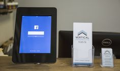 """Our facebook """"Like"""" station so our patients can keep up with Vertical Chiropractic's latest news and events. #diy #affordablebuilding #gonsteadchiro #industrial"""