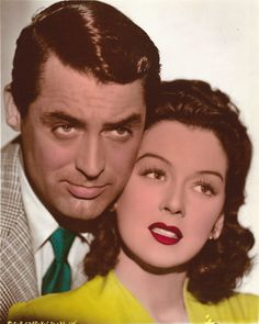 Cary Grant and Rosiland Russell in a colorized photo from HIS GIRL FRIDAY (1940).