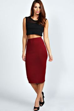 Lexi Midi Jersey Tube Skirt at boohoo.com