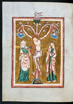 "Crucifixion with a pelican from the ""Missale cisterciense"" by Anonymous from Rhineland, ca. 1300 (PD-art/old), Biblioteka Czartoryskich"