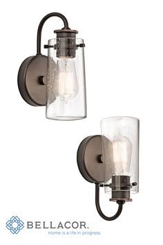 Clear seedy glass emphasizes the classic industrial look of this wall lantern from the Knox collection. http://www.bellacor.com/productdetail/kichler-45457oz-knox-olde-bronze-one-light-wall-bracket-with-clear-seedy-glass-1148140.htm?partid=social_pinterestad_1148140