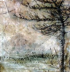 Kim Henkel / Letting in the Light: Having Vision - white acrylic paint mixed with pan pastels and tea bags, coated with cold wax