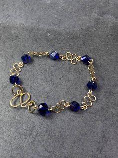 Gold and Blue Crystal Bracelet