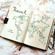 Hast Du Deinen #Urlaub dieses Jahr schon geplant? Ein guter Weg, damit anzufangen, ist sich die Optionen bildlich vor Augen zu halten. Tolle Arbeit von @bujournalle im #Leuchtturm1917 Notizbuch. #Weltkarte #Urlaub #Reise #Zeichnen