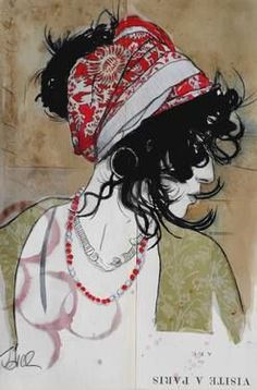 "Saatchi Art Artist: Loui Jover; Ink 2014 Drawing ""gypsy... (SOLD)"""