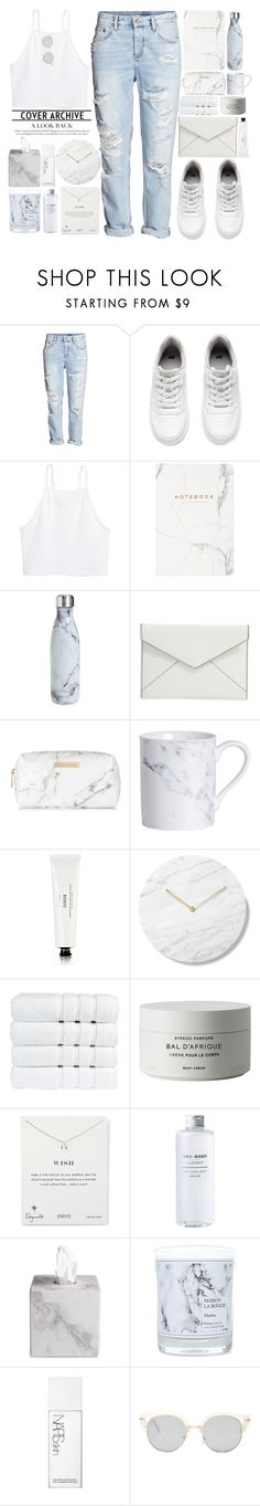 """""""Marble"""" by theapapa ❤ liked on Polyvore featuring H&M, S'well, Rebecca Minkoff, Spectrum, Byredo, Christy, Dogeared, Waterworks, Maison La Bougie and NARS Cosmetics"""
