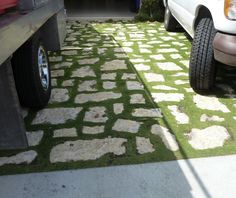 Creative driveways. Broken concrete and moss