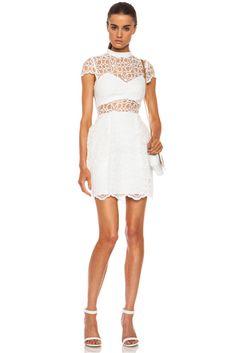 NICHOLAS Nylon Organza Lace Tulip Dress in White