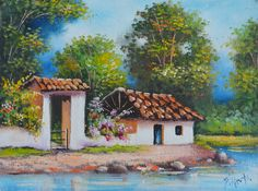 Cuban Art, Mexican Art, Artist Painting, Watercolour Painting, Landscape Art, Landscape Paintings, Circle Canvas, South American Art, Bob Ross Paintings