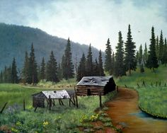 16 x 20 Print of Original Oil Painting Cabin in the Mountains of Colorado Summer Sale on prints