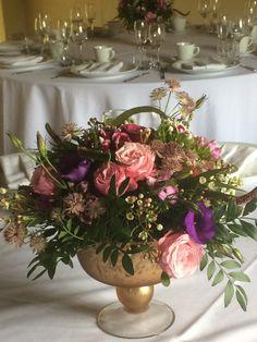 Wedding table centre pieces Wedding Table Centres, Wedding Table Centerpieces, Table Decorations, Table Centers, Centre Pieces, Barn, Flowers, Silver, Home Decor