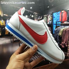 check out 0309c 42ea5 2018 Latest Nike Classic Cortez Fashion Men Kicks Leather White Red Blue Nike  Classic Cortez,