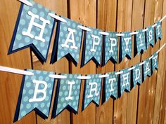 Custom navy and teal dot Banner, Banner, Birthday Banner, Happy Birthday Banner, Birthday Decorations, Boy Birthday, First Birthday by JaeMakes on Etsy