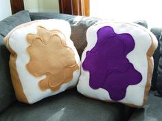 Made for Each Other Pillow Set Customizable by diffractionfiber - Peanut Butter & Jelly decorative/novelty pillows! Food Pillows, Cute Pillows, Diy Pillows, Throw Pillows, Funny Pillows, Decorative Pillows, Homemade Pillows, Sewing Pillows, Funky Home Decor